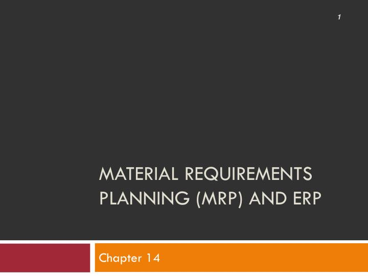 material requirements planning mrp and erp n.