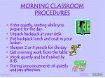 morning classroom procedures