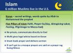 islam 6 million muslims live in the u s