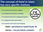 the concept of halal in islam has very specific motives