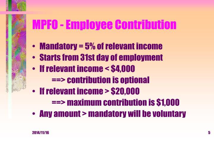 MPFO - Employee Contribution