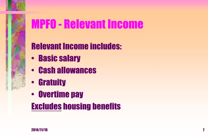 MPFO - Relevant Income