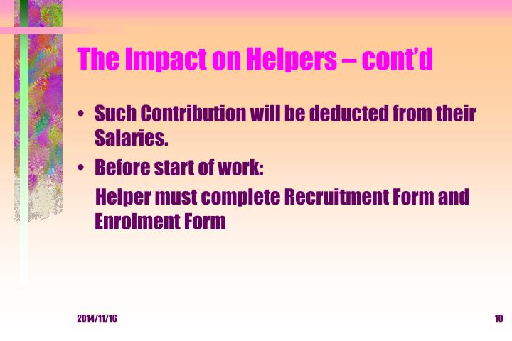 The Impact on Helpers – cont'd