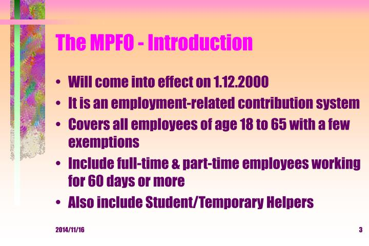 The mpfo introduction