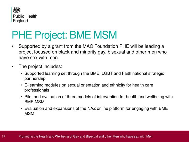 PHE Project: BME MSM