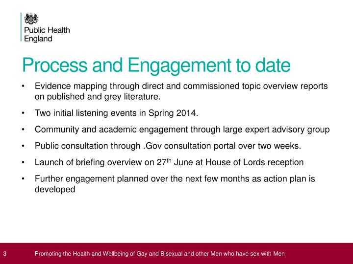 Process and engagement to date