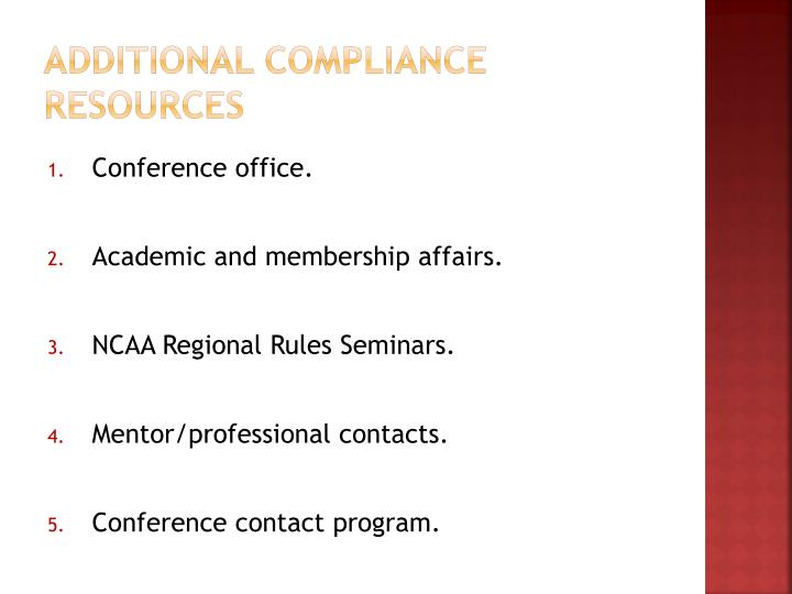 Additional Compliance Resources
