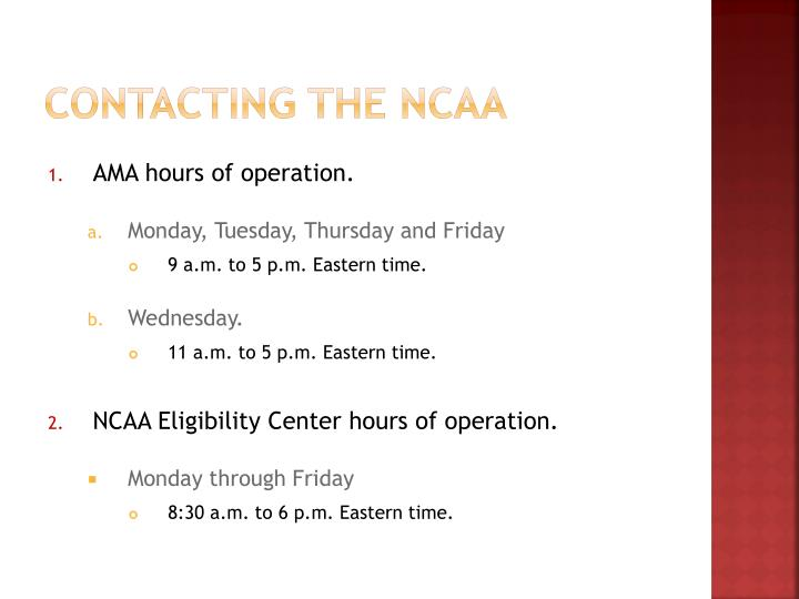 Contacting the NCAA