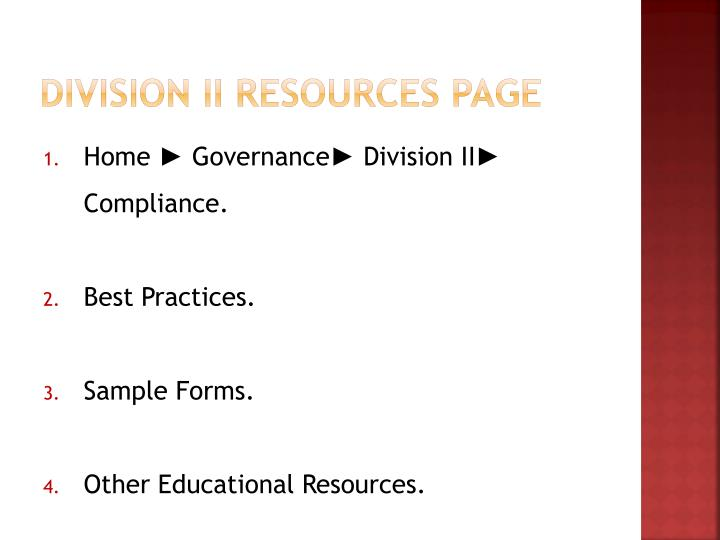 Division II Resources Page