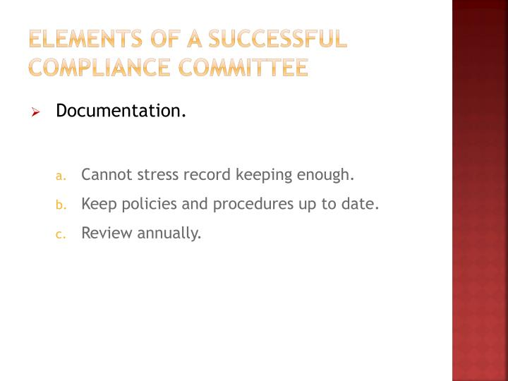 Elements of a Successful Compliance Committee