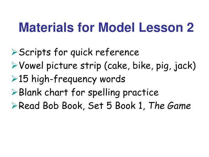 Materials for Model Lesson 2