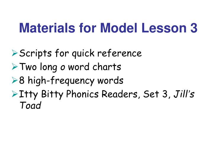 Materials for Model Lesson 3