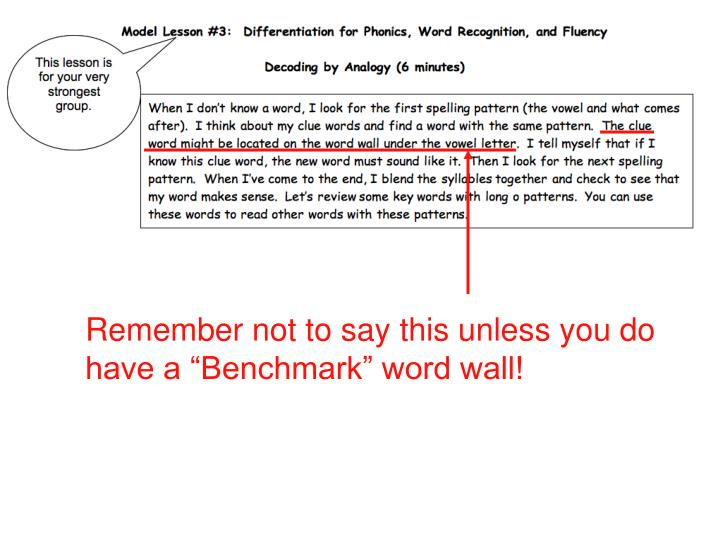 """Remember not to say this unless you do have a """"Benchmark"""" word wall!"""