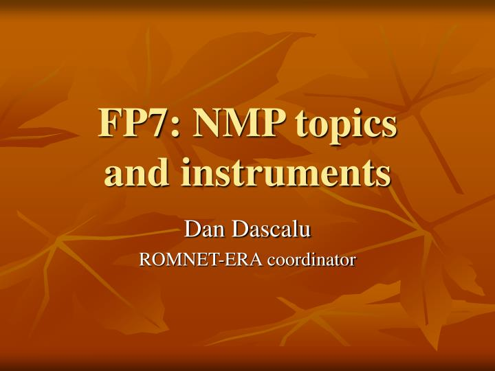 fp7 nmp topics and instruments n.