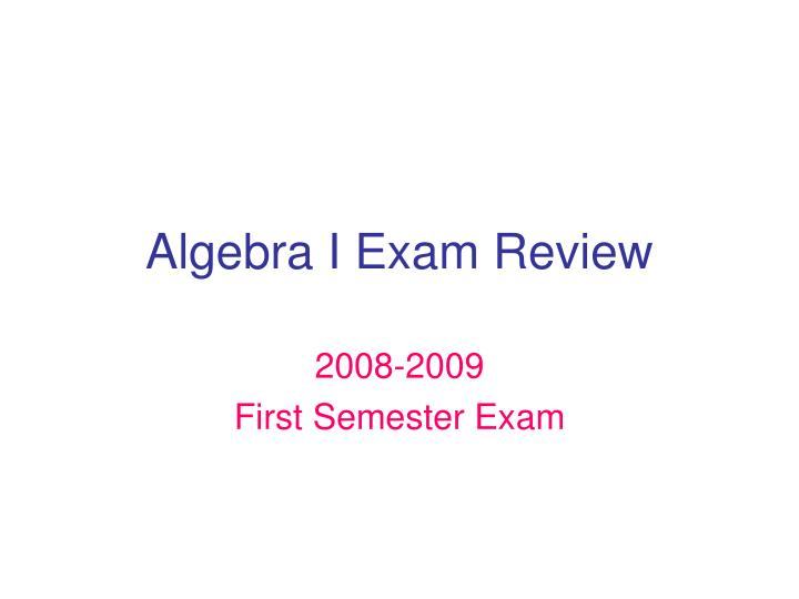 algebra i exam review n.