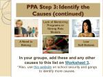 ppa step 3 identify the causes continued