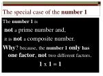 the special case of the number 1