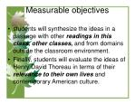 measurable objectives