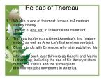 re cap of thoreau