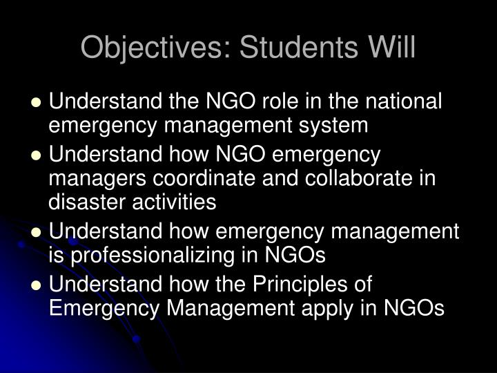 Objectives students will
