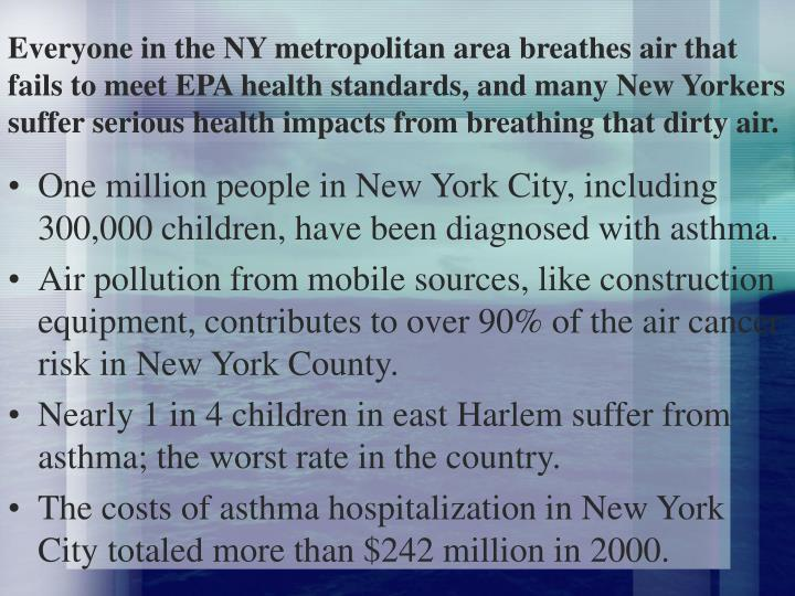 Everyone in the NY metropolitan area breathes air that fails to meet EPA health standards, and many New Yorkers suffer serious health impacts from breathing that dirty air.