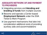 adequate network of and payment to providers