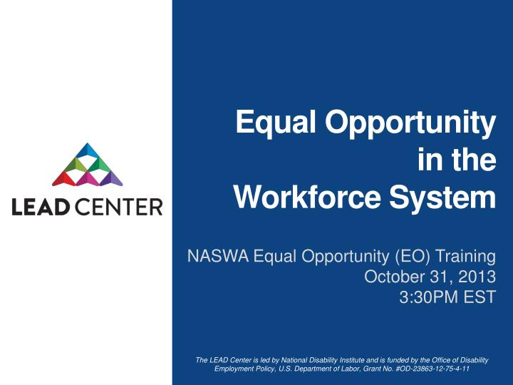 equal opportunity in the workforce system n.