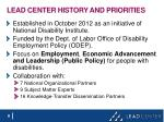 lead center history and priorities