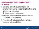 person centered employment planning