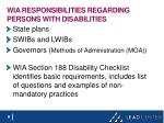 wia responsibilities regarding persons with disabilities
