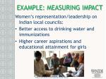example measuring impact