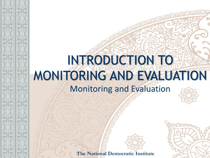 introduction to monitoring and evaluation monitoring and evaluation n.