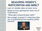 measuring women s participation and impact