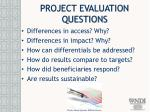 project evaluation questions