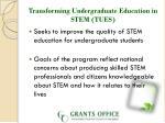 transforming undergraduate education in stem tues