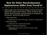 how do other psychodynamic explanations differ from freud s
