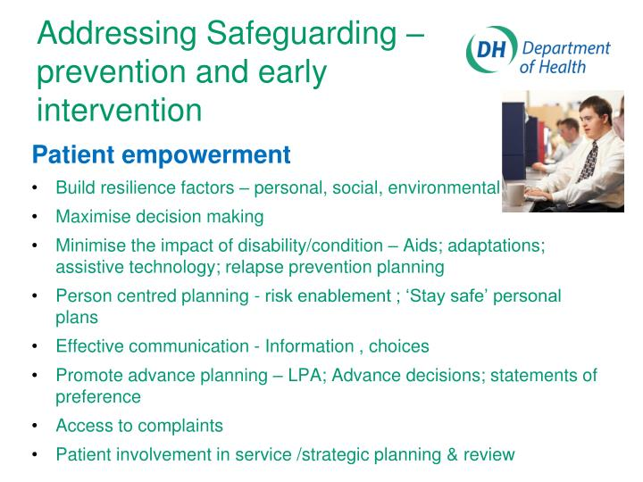 Addressing Safeguarding – prevention and early intervention
