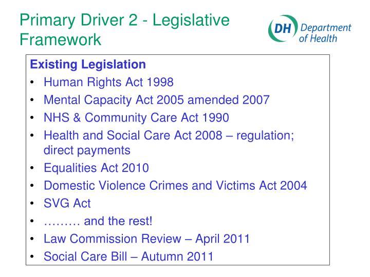 Primary Driver 2 - Legislative Framework