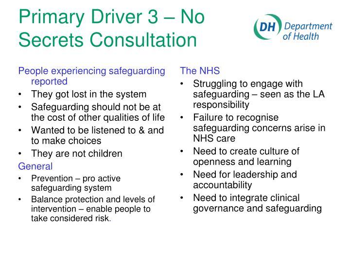 Primary Driver 3 – No Secrets Consultation