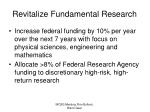 revitalize fundamental research