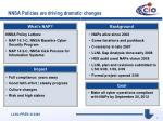 nnsa policies are driving dramatic changes