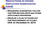 reductions in ozone depleting substances ods