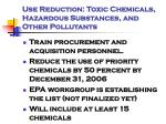 use reduction toxic chemicals hazardous substances and other pollutants