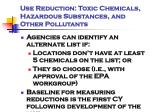 use reduction toxic chemicals hazardous substances and other pollutants1