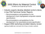 2002 efforts for material control guidelines and engineering practice