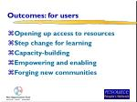 outcomes for users