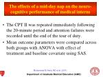 the effects of a mid day nap on the neuro cognitive performance of medical interns2