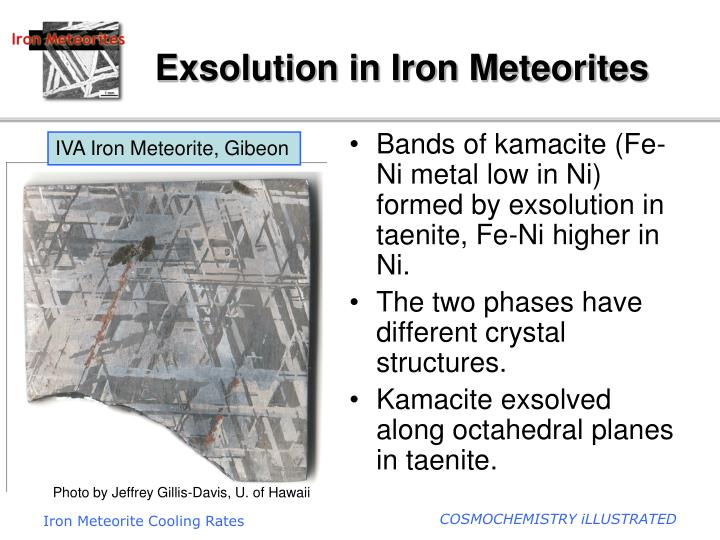 exsolution in iron meteorites n.