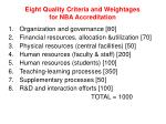 eight quality criteria and weightages for nba accreditation