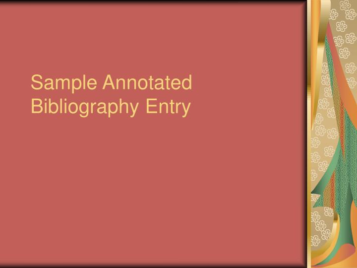 sample annotated bibliography entry n.